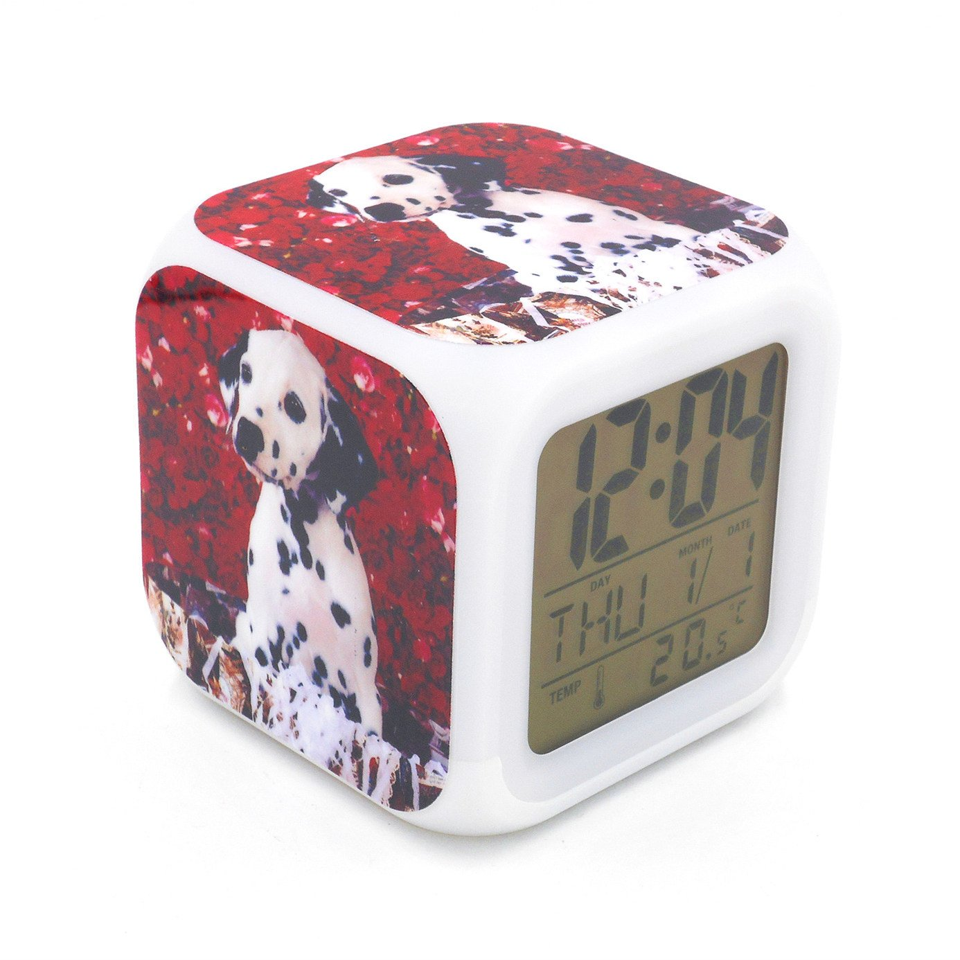 EGS New Dalmatian Dog Puppy Red Flower Digital Alarm Clock Desk Table Led Alarm Clock Creative Personalized Multifunctional Battery Alarm Clock Special Toy Gift for Unisex Kids Adults