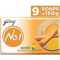Godrej No.1 Bathing Soap ? Sandal & Turmeric, 150g (Pack of 9)