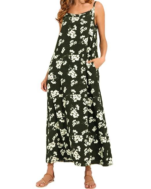 ZANZEA Donna Vestito Senza Maniche Abito Lungo Casual Elegante Maxi V Collo  Moda Dress Cocktail  Amazon.it  Abbigliamento b85d2e11a3a4