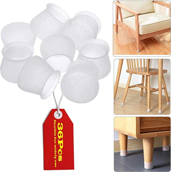 Furniture Silicon Protection Cover, 36 Pcs Chair Leg Caps Silicone Floor Protectors for Round & Square Furniture Feet, Anti-Slip, Prevent Scratches and Noise, Without Leaving Marks