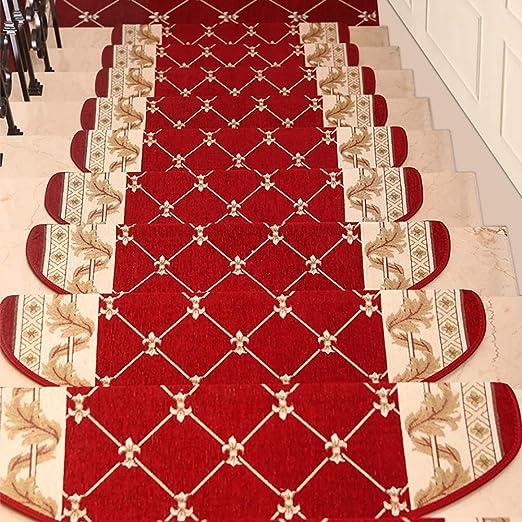 Peldaños de Escalera Alfombra Antideslizante, Protectores de escaleras Interiores Autoadhesivos, Alfombras aptas for Mascotas Cubre esteras Juego de 5 (Color : Rojo, tamaño : 24×80cm): Amazon.es: Hogar