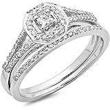 0.40 Carat (ctw) 14K Gold Princess & Round Diamond Ladies Split Shank Halo Bridal Engagement Ring Set