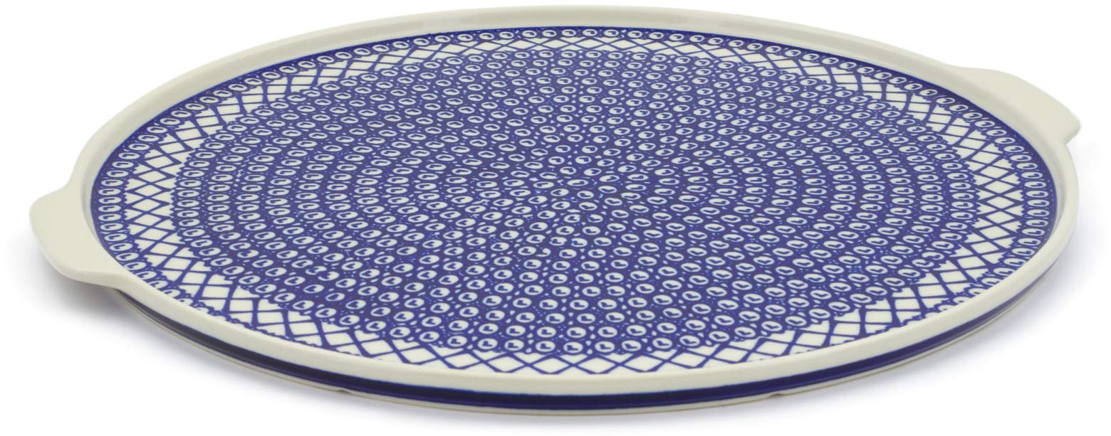 Polish Pottery 16¼-inch Pizza Plate (Lattice Peacock Theme) + Certificate of Authenticity