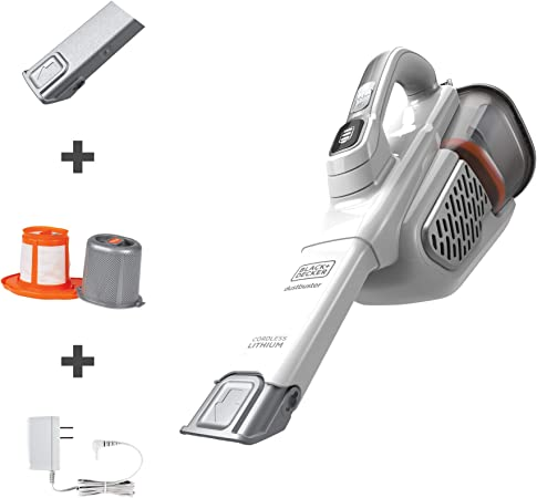BLACK+DECKER dustbuster Handheld Vacuum, Cordless, AdvancedClean+, White (HHVK320J10) best handheld vacuum