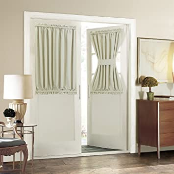 Blackout French Door Curtain For Privacy   Aquazolax Soft Fabric Door  Curtain 54x40 Inch Solid