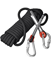 Congerate 5 Color Optional Rope 10.5mm Diameter Outdoor Hiking Accessories High Strength Cord Safety Escape Climbing Equipment Fire Rescue Parachute Rope (10m,32ft) Climbing Rope With 2 PCS Carabiners …