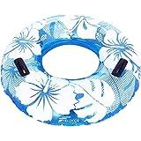 FIELDOOR 便利な持ち手付き ジャンボ 浮き輪 大きい うきわ 使用時直径95cm ブルー (ハイビスカス柄) 大人用