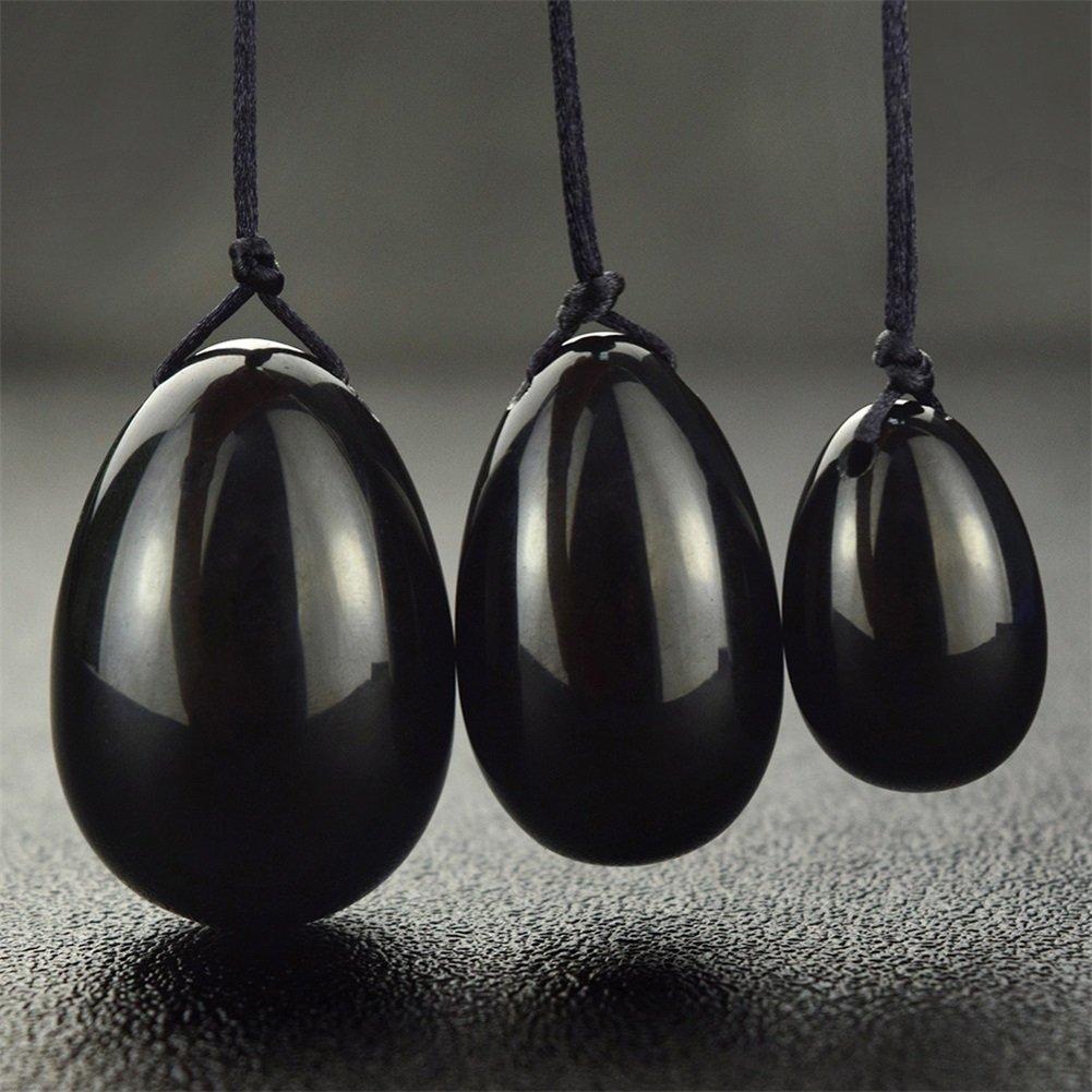 Yoni Egg Ben Wa Balls Set of 3 Women Strengthen Pelvic Floor Muscles Massage Stone, Counter Stress Adult Urinary Incontinence Exercise Balls Rose Crystal Quartz Jade Egg Health Care YJST05