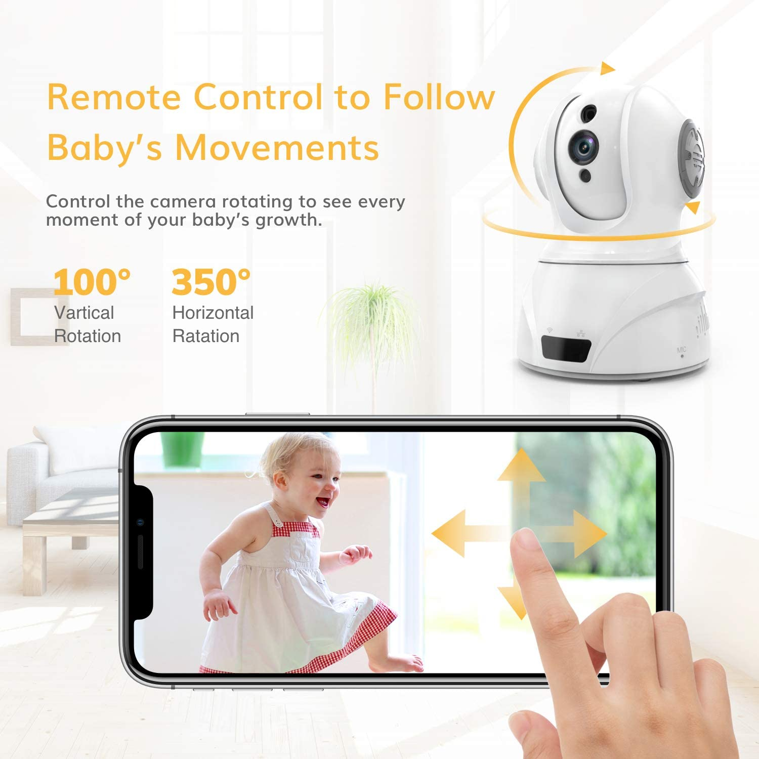 Famisafe Wireless Baby Camera – Baby Monitor Camera 2MP Camera with Pan Tilt Zoom, 2-Way Audio, Motion Detection, Night Vision, Remote Monitor for Baby Pet Elder, Work with Alexa Android iOS – White