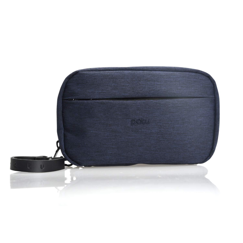 Patu Handy Beauty Stuff Carry Case, Makeup Cosmetic Bag, Women Facial Cleanser Skincare Kit Pouch, Pencil Clutch, Portable Electronics Accessories Organizer, Indigo