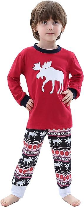 7b649dcd19c12 Aibrou Enfants Ensemble de Pyjamas Noël Famille Cerf Hommes Hauts et  Pantalons Longs vêtements de Nuit
