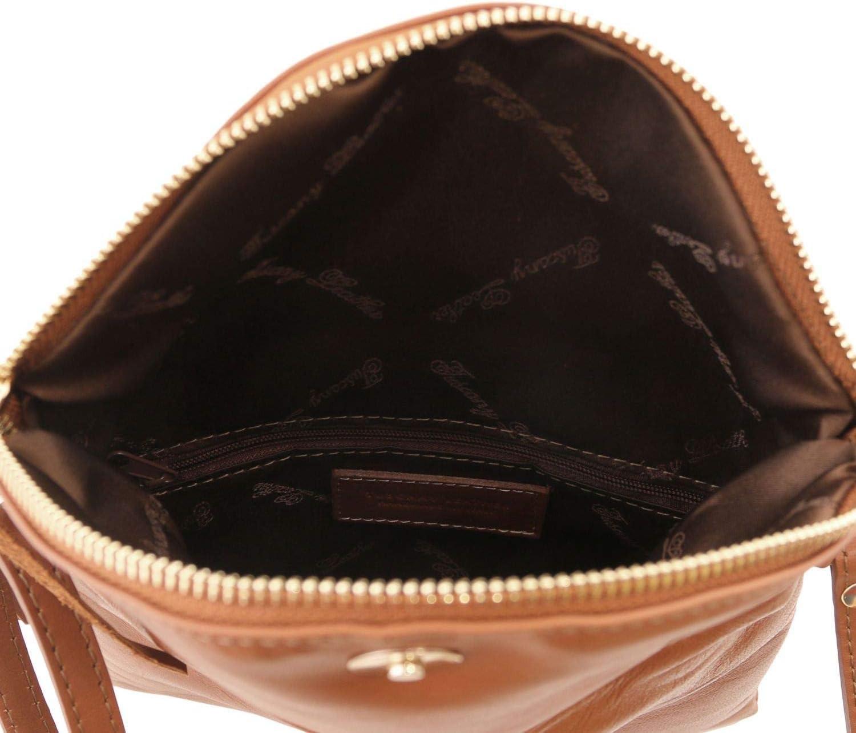 Tuscany Leather TL Young Bag Borsa a tracolla con nappa Nero Cognac