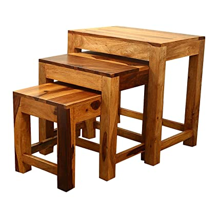 Rajasthan Sheesham Furniture Wood Nesting Table (Set Of 3) In Teak Finish  By Home