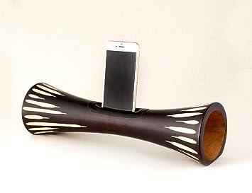 Mangobeat Amplificador de altavoz Nature sin alimentación para Smartphone Mobile Phone para interiores y exteriores, 10x35 cm, Madera De Mango, ...