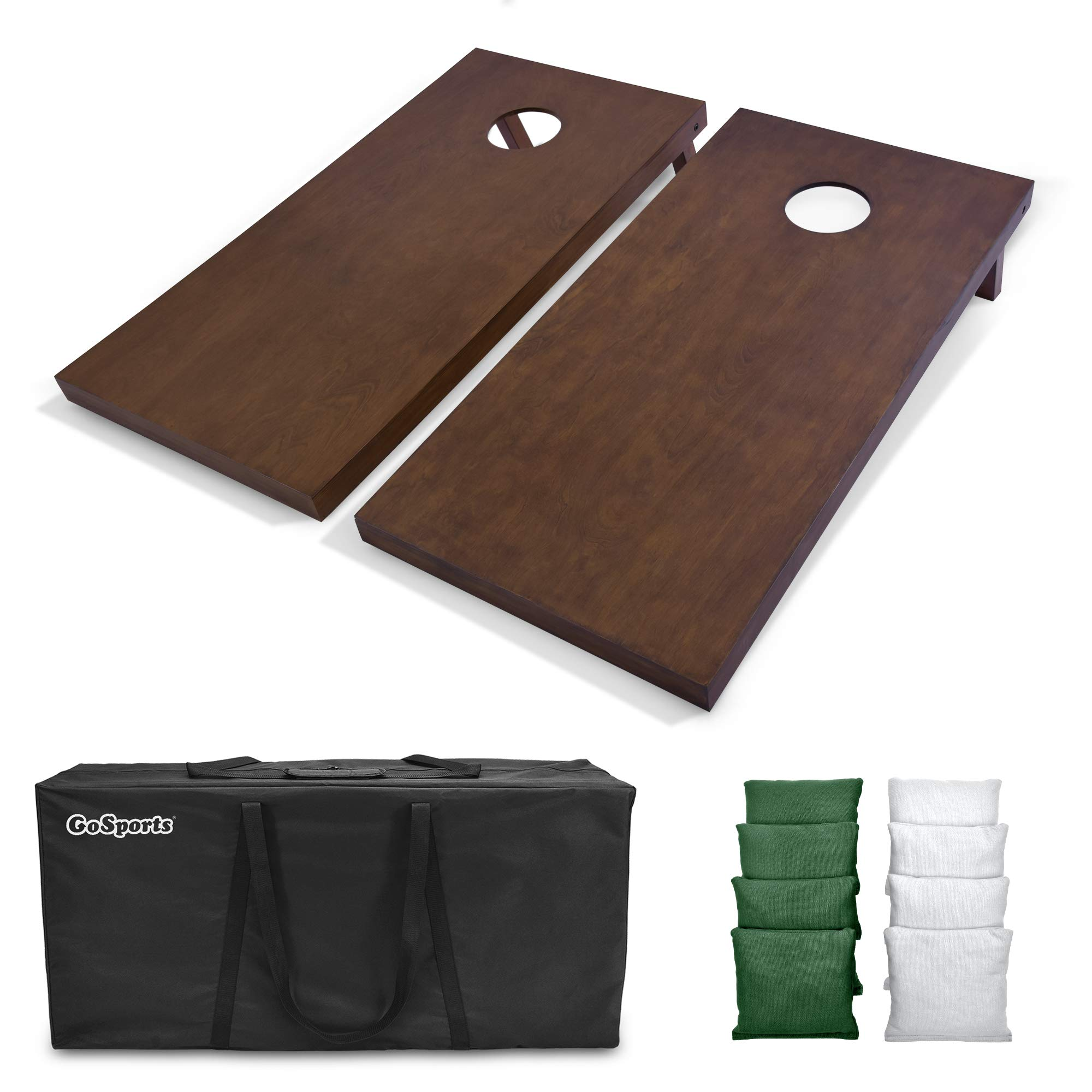 GoSports 4'x2' Regulation Size Wooden Cornhole Boards Set with Dark Brown Varnish   Includes Carrying Case and Bean Bags (Choose Your Colors) Over 100 Color Combinations by GoSports