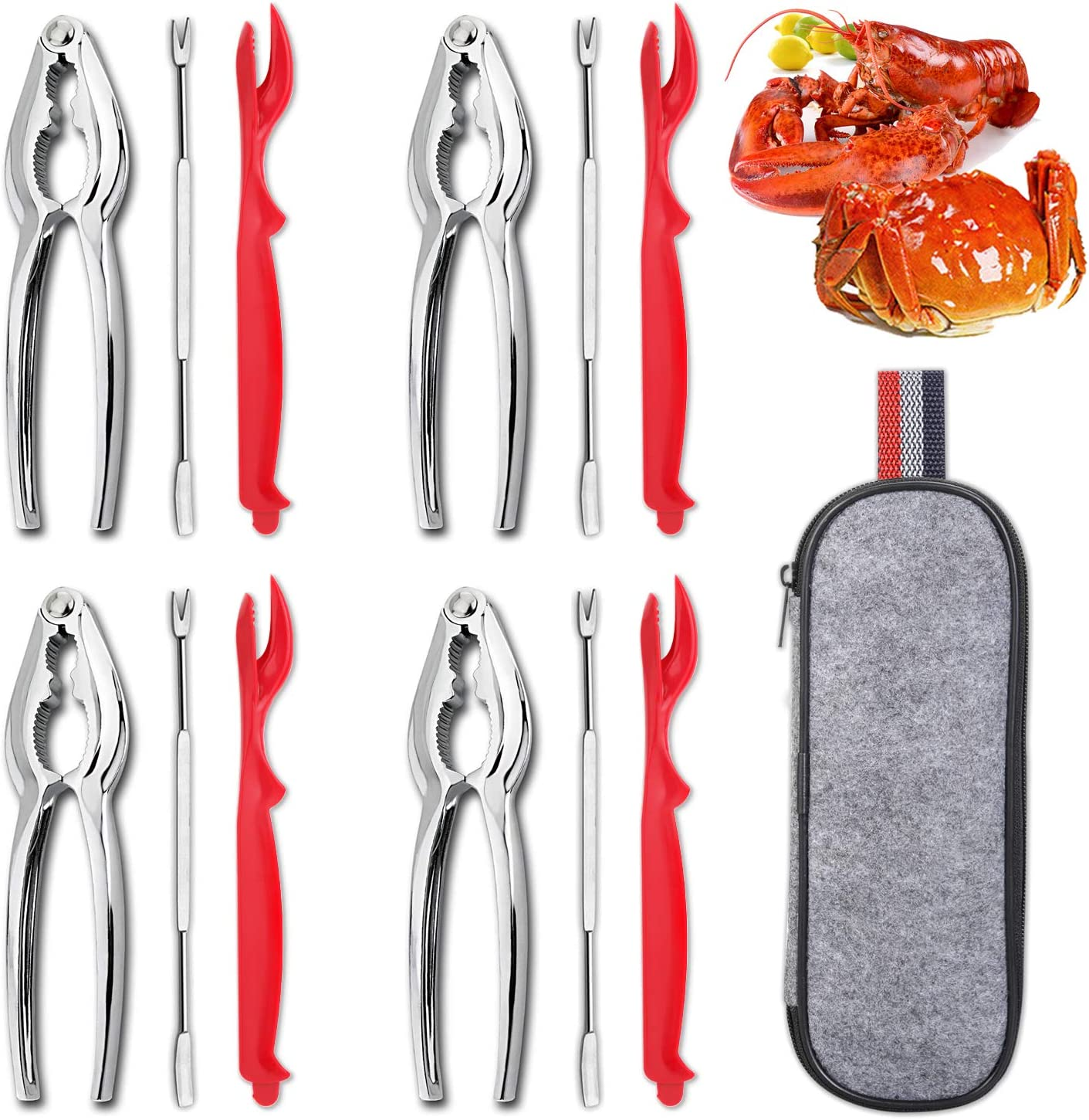 Hiware 13-piece Crab & Lobster Crackers and Tools Set Includes 4 Crab Leg Crackers, 4 Lobster Shellers, 4 Crab Forks/Picks and Portable Storage Bag - Stainless Steel Seafood Tools
