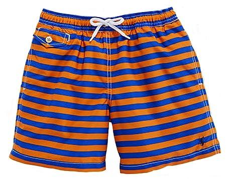 2545bb46d64f6 Amazon.com: Ralph Lauren Boys' Stripe Traveler Swim Trunks (XL 18-10 ...