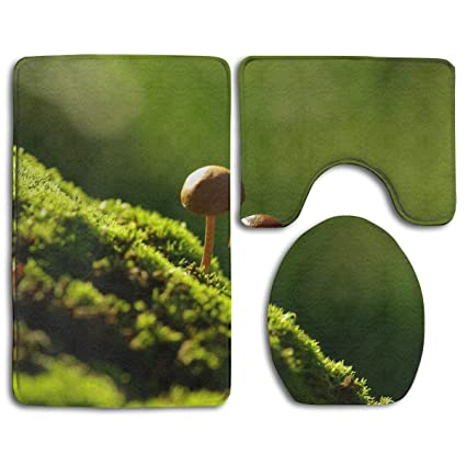 KOPTZA Mushrooms On The Moss 3 Piece Bath Mat Set,Contour Bathroom Rug Set,