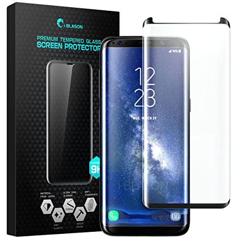 Galaxy S8 Protezione In Vetro Temperato, [tempered glass] [Full Cover]  i-Blason Premium HD - Trasparente Per Samsung Galaxy S8 ( NERO )