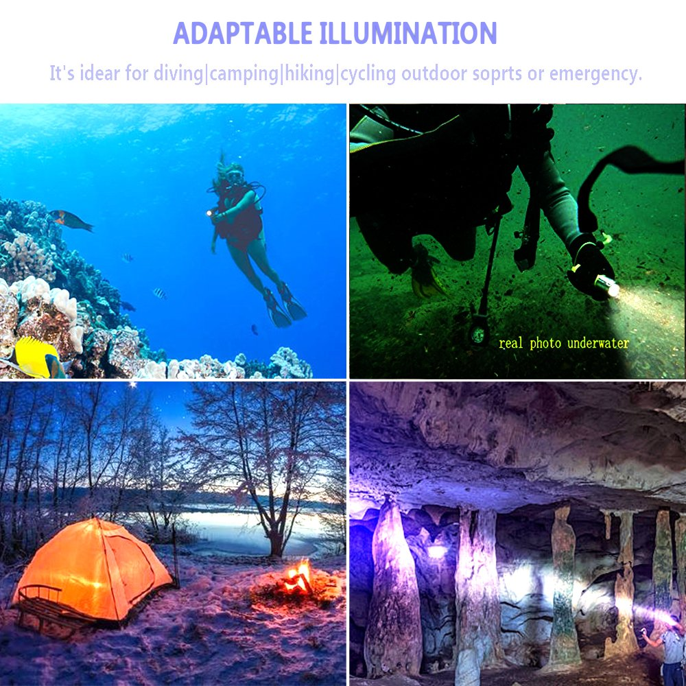 800 Lumen LED Dive Light Rechargeable PFSN Professional Scuba Diving Flashlight Underwater 50m Waterproof Best for Expert Diving at Night Snorkeling Caving Fishing(18650 Battery and Charger Included) by PFSN professioner (Image #6)