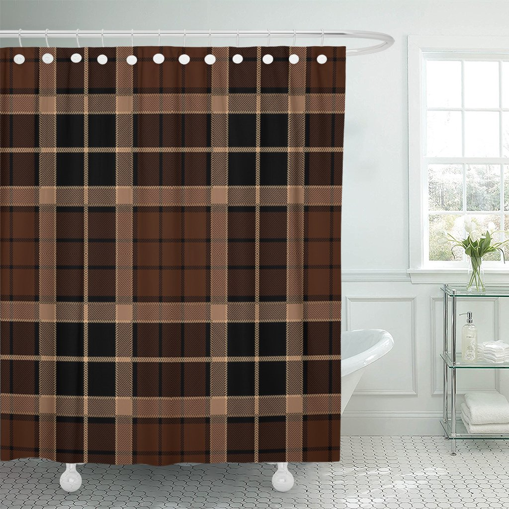 Emvency Shower Curtain Abstract Tartan Plaid Brown Pattern Black British Checkered Clan Waterproof Polyester Fabric 72 x 72 Inches Set with Hooks
