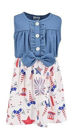 98b8a6acd Amazon.com: Unique Baby Girls Denim 4th of July Dress: Clothing