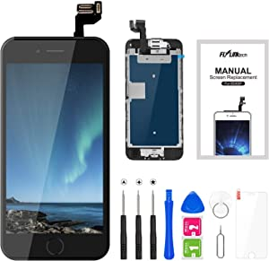 for iPhone 6S Screen Replacement, FLYLINKTECH Full Assembly LCD Display Digitizer with Home Button, Front Camera, Ear Speaker, Proximity Sensor and Repair Tool Kit (Black)