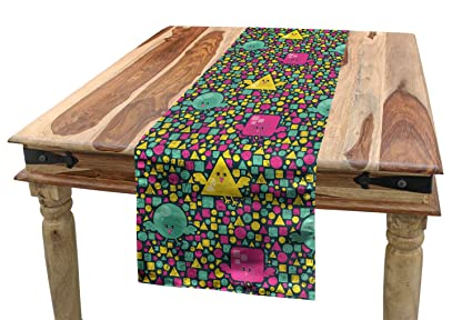 Ambesonne Birds Table Runner, Grunge Fun Composition With Bird Characters  In Different Geometric Shapes,