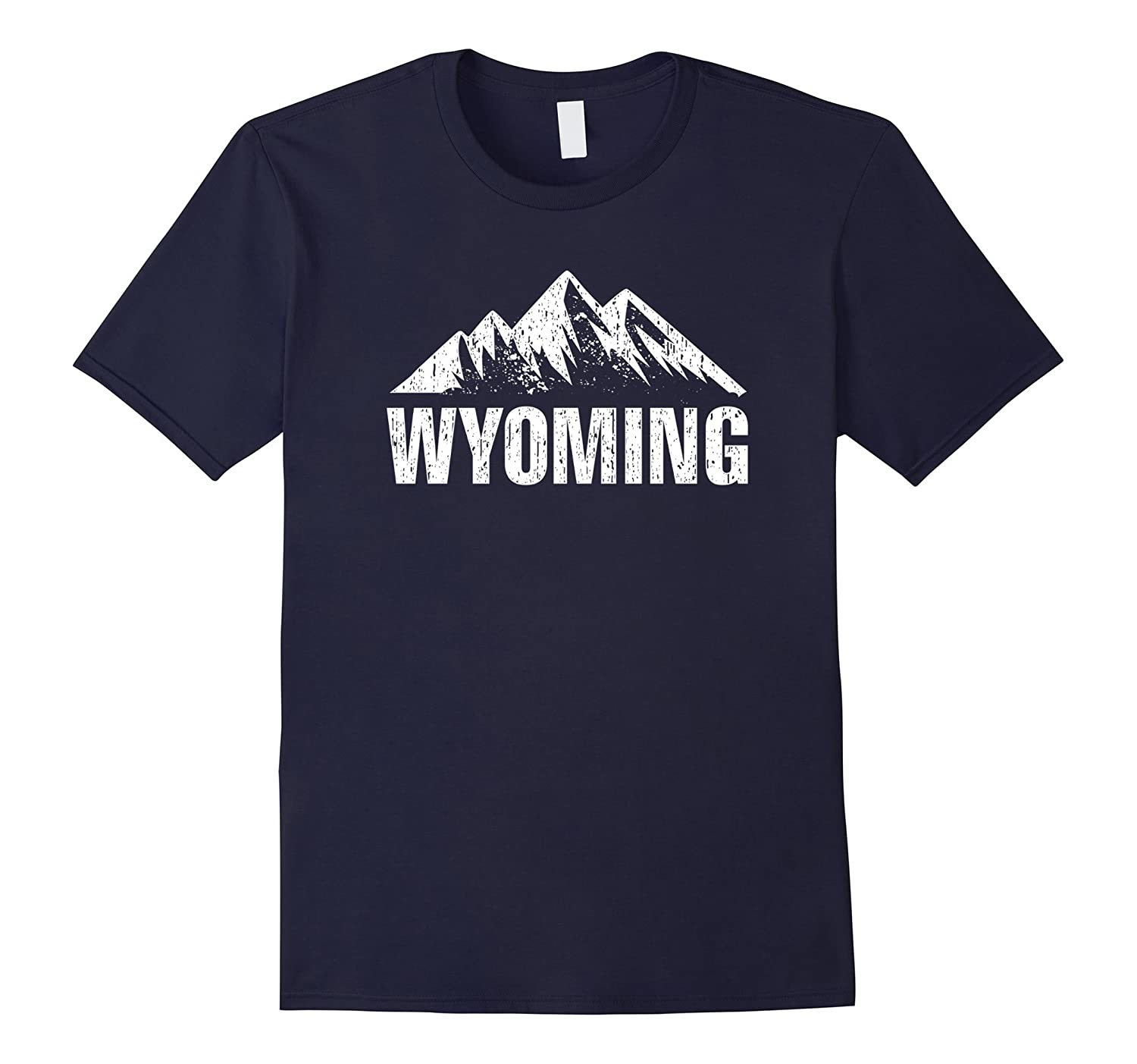 Wyoming State With Mountains Distressed T-shirt-CD