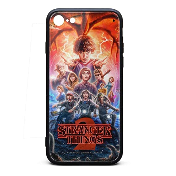save off 19ba7 eabe6 iPhone 7/iPhone 8 Case Stranger-Things-Full-Cast-Season-2- Shockproof  Tempered Glass Back Cover Soft TPU Bumper Shell for iPhone 7/iPhone 8