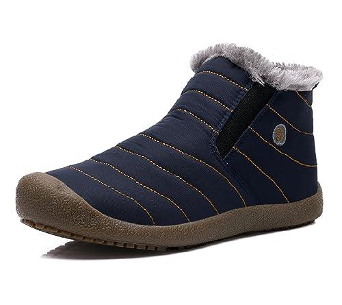 Rioneo Zapatos Hombre Fur Otoño Invierno Plano Botines Calentar Botas de Nieve Outdoor Boots Gris 42: Amazon.es: Zapatos y complementos