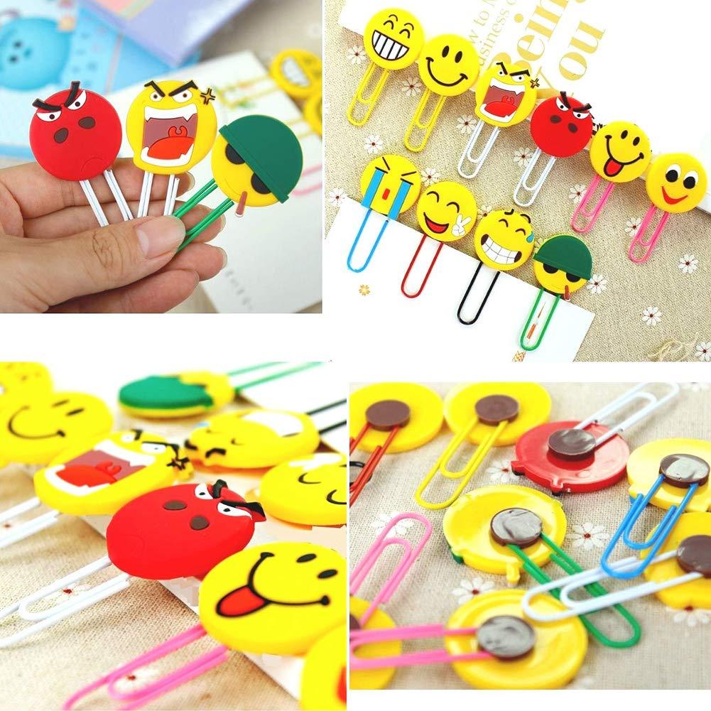 lustige Paperclip Lesezeichen 20PCS Nette Emoji Lesezeichen M/ädchen Jungen Neuheit Emoticon Buch Marker f/ür Kinder Sch/üler
