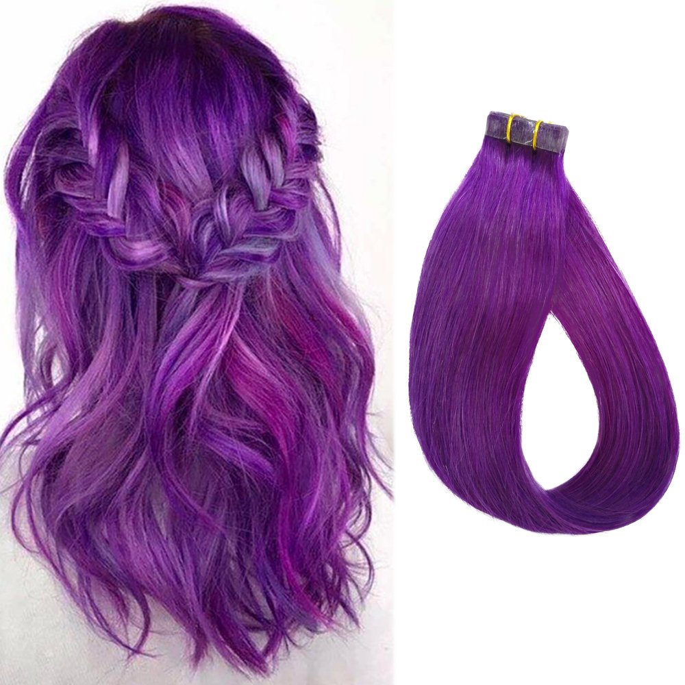 60off 16 Purple Hair Extensions Skin Weft Tape In Remy Human Hair