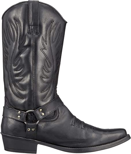 TALLA 41 EU. Mens Leather Cowboy Pull On Western Harness Cuban Heel Smart Ankle Boots UK 6-13