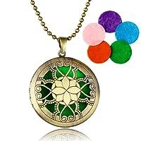TONVER Collar Difusor de Aceite Esencial, Chapado en Oro Difusor de Aromaterapia Locket Collar Colgante Joyería Conjunto para Mujer,5 Recambios de Color (Flor del Oso – Color Bronce)