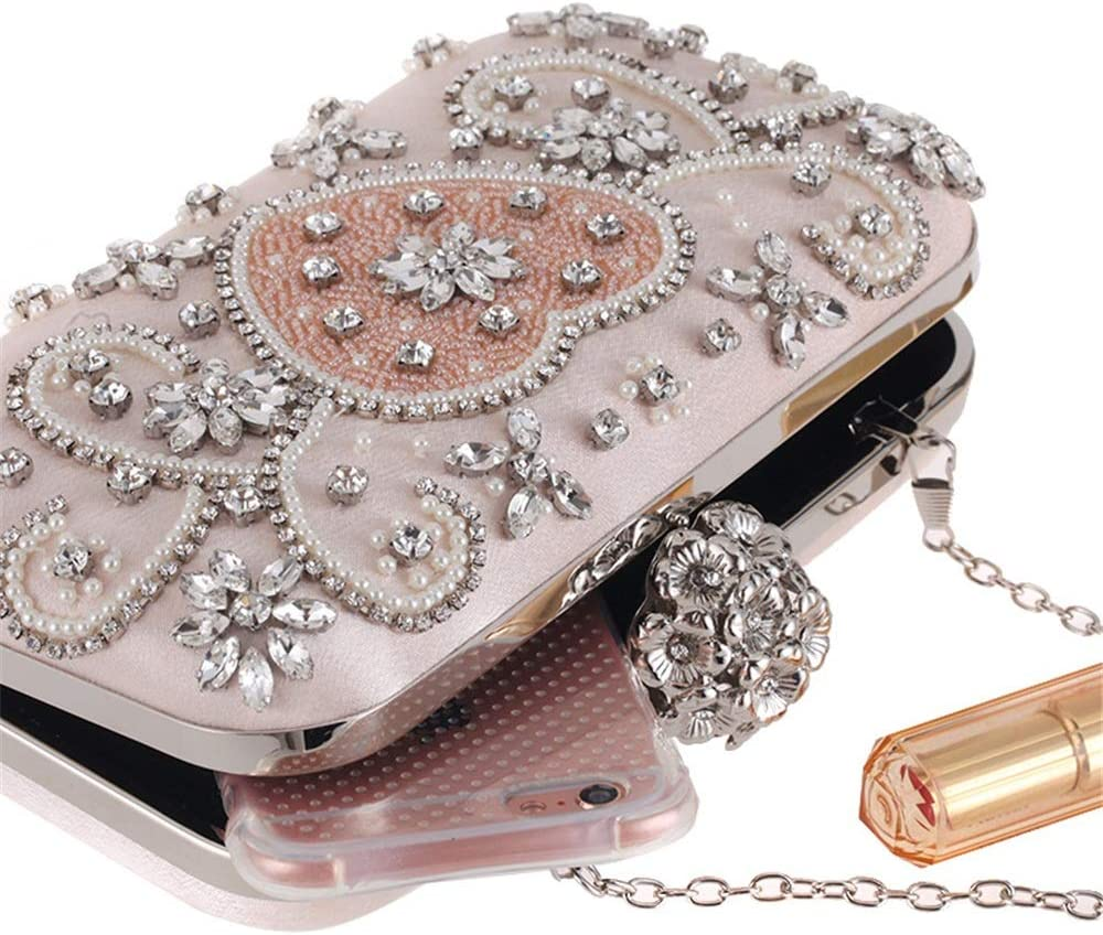Amyannie Party Clutch Bag Womens Clutches Crystal Evening Bag Clutch Purse Bags Special Occasion Evening Handbags Pink Sparkling Evening Bag