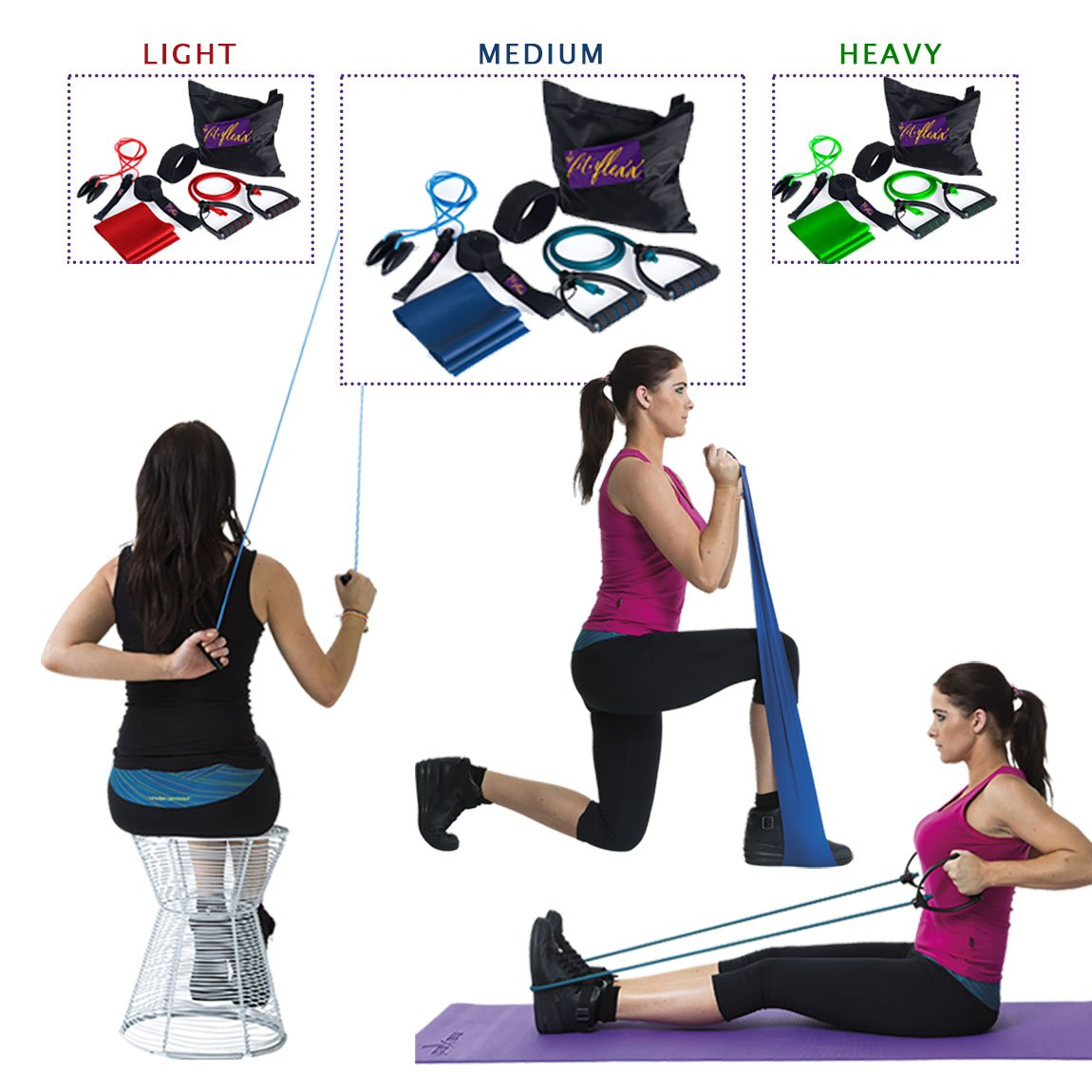 Amazon.com : Portable Exercise Equipment, Resistance Stretch Bands U0026  Shoulder Pulley Set For Fitness At Home, Office Or Travel.