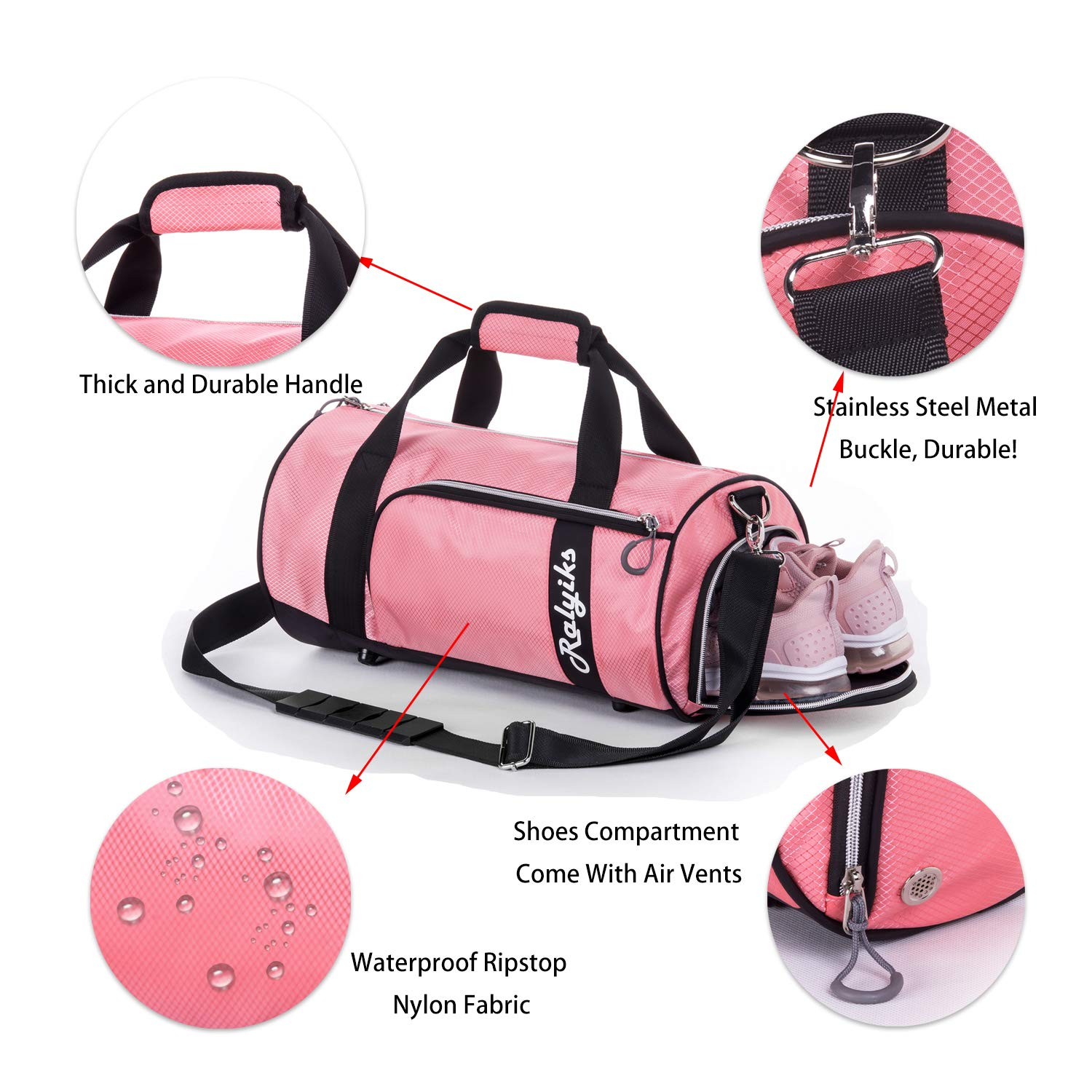 59c237804 Amazon.com | Waterproof Sports Gym Bag with Shoes Compartment Travel Duffel  Bag (Sweet Pink, Small) | Sports Duffels