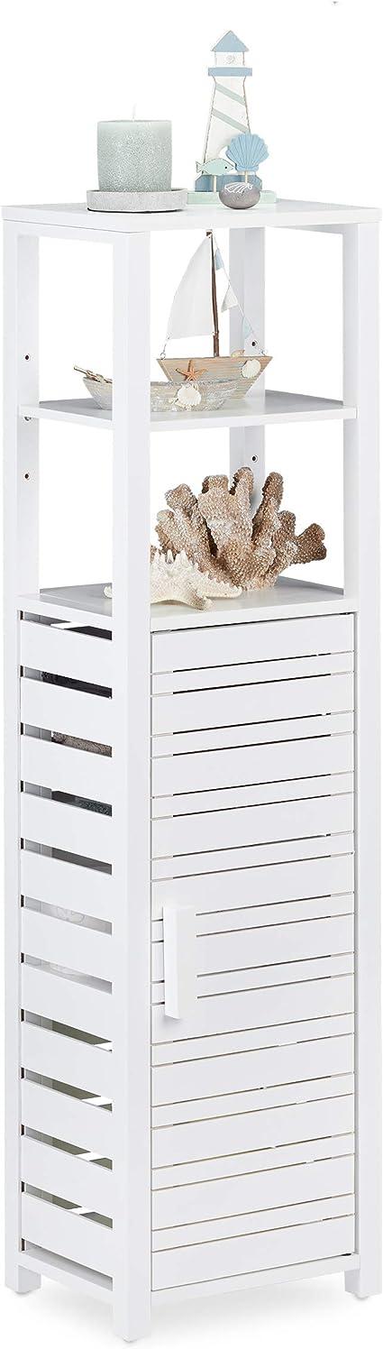 Relaxdays Estantería de baño, Alta, Seis estantes, Blanca, 119 x 33 x 25,5 cm