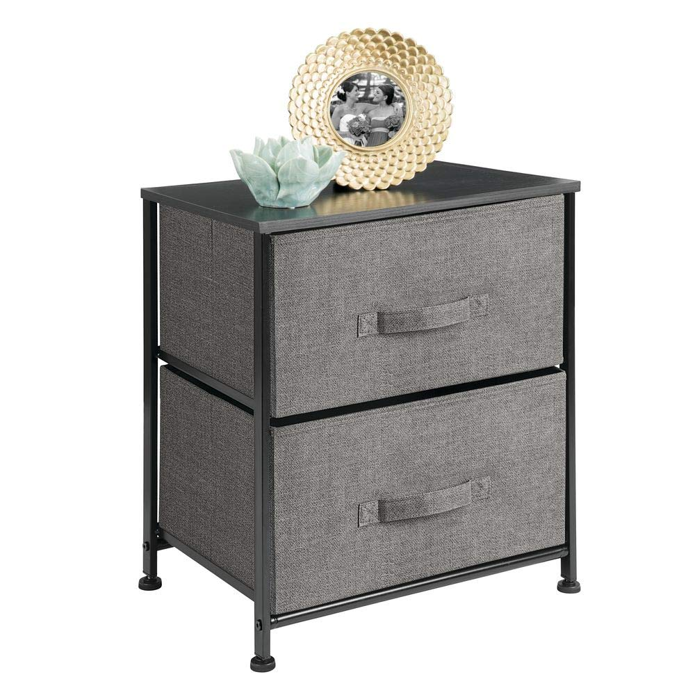 mDesign Vertical Dresser Storage Tower - Sturdy Steel Frame, Wood Top, Easy Pull Fabric Bins - Organizer Unit for Bedroom, Hallway, Entryway, Closets - Textured Print - 2 Drawers - Charcoal Gray/Black by mDesign