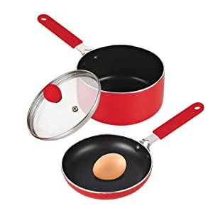 """Cook N Home 5.5"""" Mini Size Fry Nonstick Pan and Sauce Pan with Lid Set, Red …"""