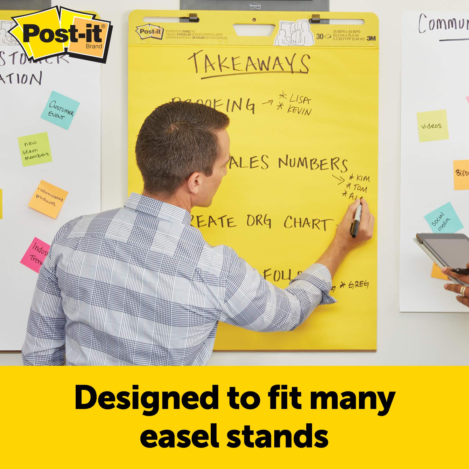 Post-it Super Sticky Easel Pad, 25 x 30 Inches, 25 Sheets/Pad, 3 Pads (559YW-3PK), Large Bright Yellow Premium Self Stick Flip Chart Paper, Super Sticking Power by Post-it (Image #5)