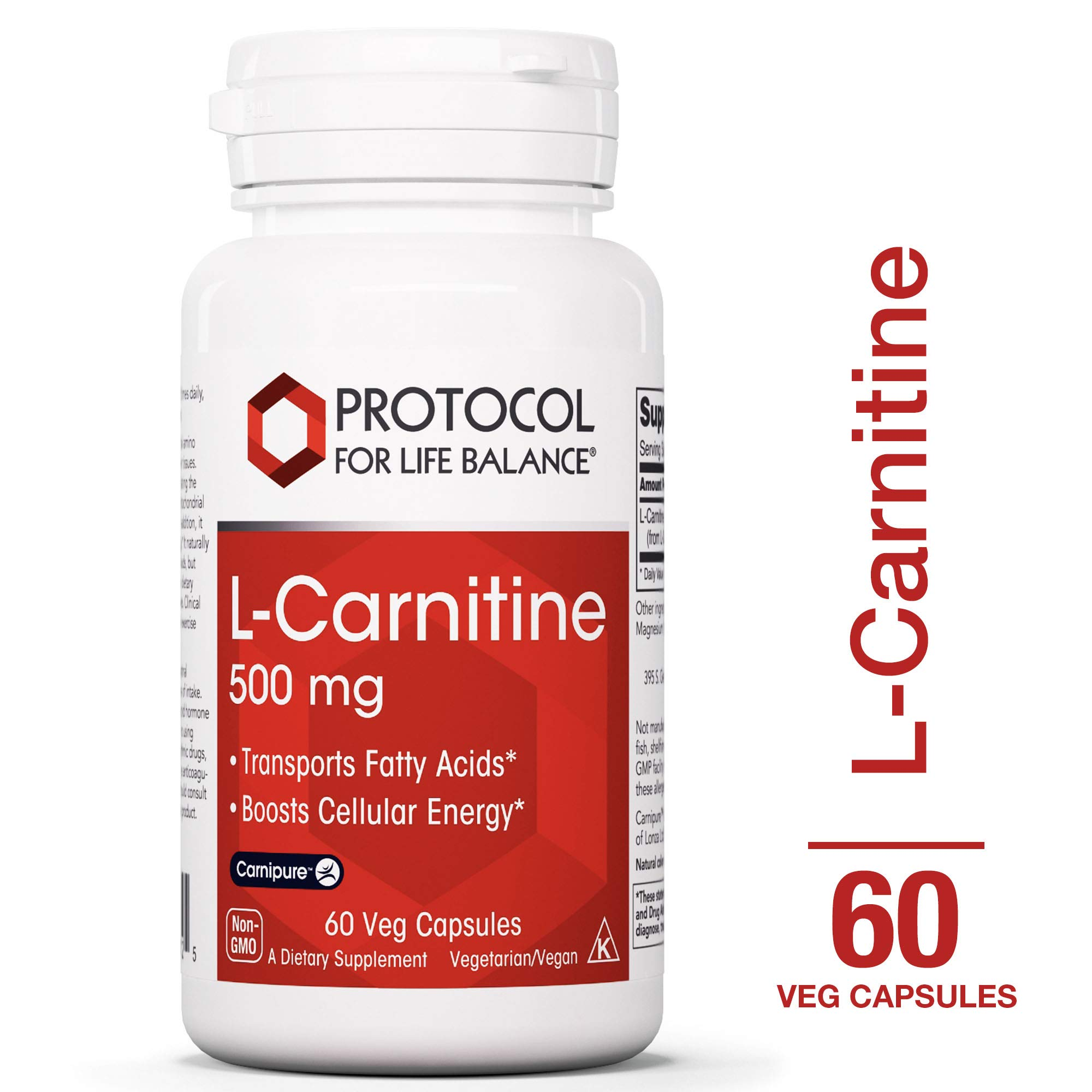 Protocol For Life Balance - L-Carnitine 500 mg - Transports Fatty Acids and Boosts Cellular Energy with Balanced Nutrition for Improved Performance & Recovery - 60 Veg Caps by Protocol For Life Balance