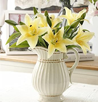 Amazon.de: Künstliche Blumen Weiße Lilie, GKONGU 4 Stück Realistisch ...