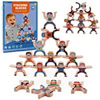 Wooden Stacking Games Interlock Toys Balancing Blocks Hercules Acrobatic Troupe Games Toddler Educational Toys for 3 4 5 6 Years Old Kids Infants Adults 16 Pieces