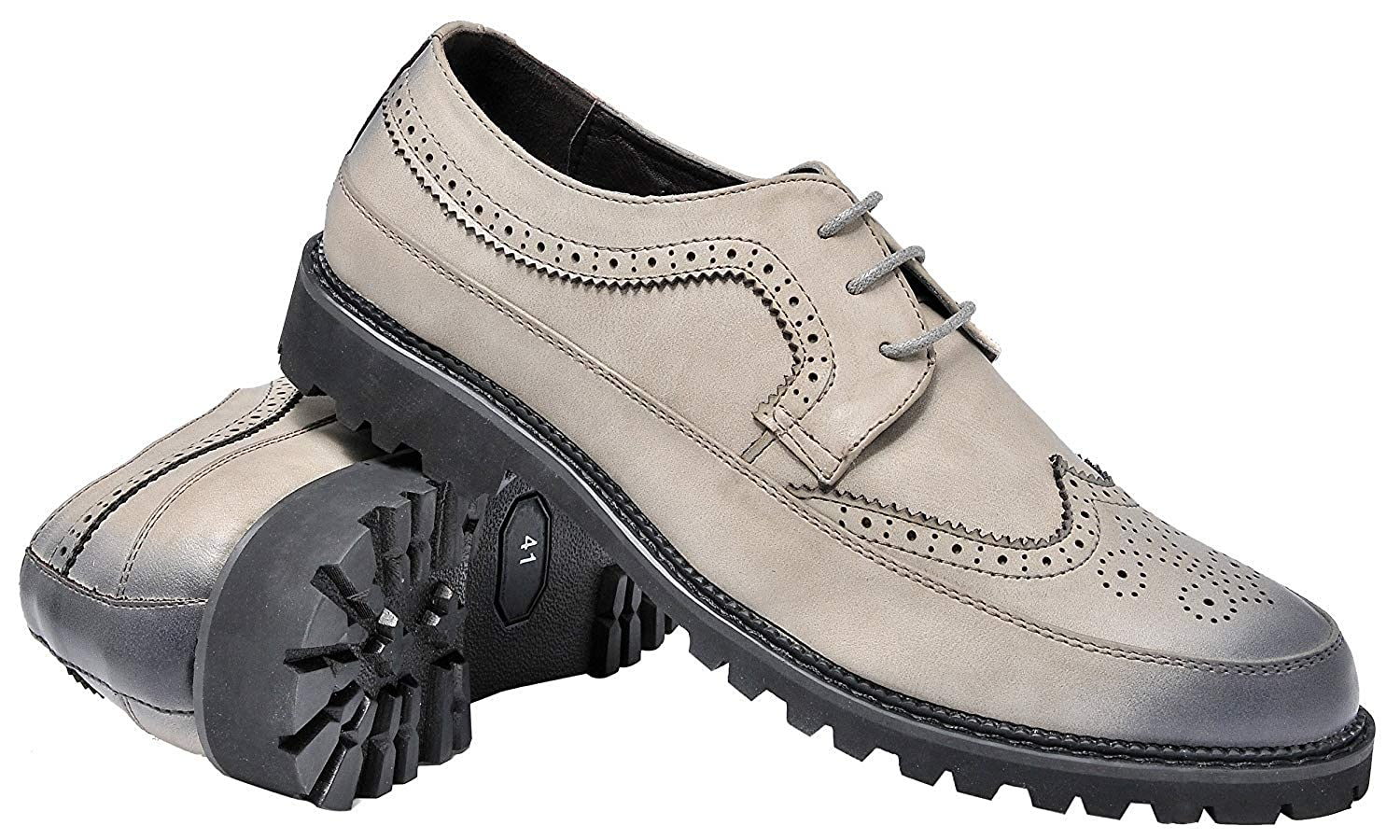 Mens Brogue Shoes Fashion Retro Wing Tip Lace Up Casual Oxfords Black Blue Grey