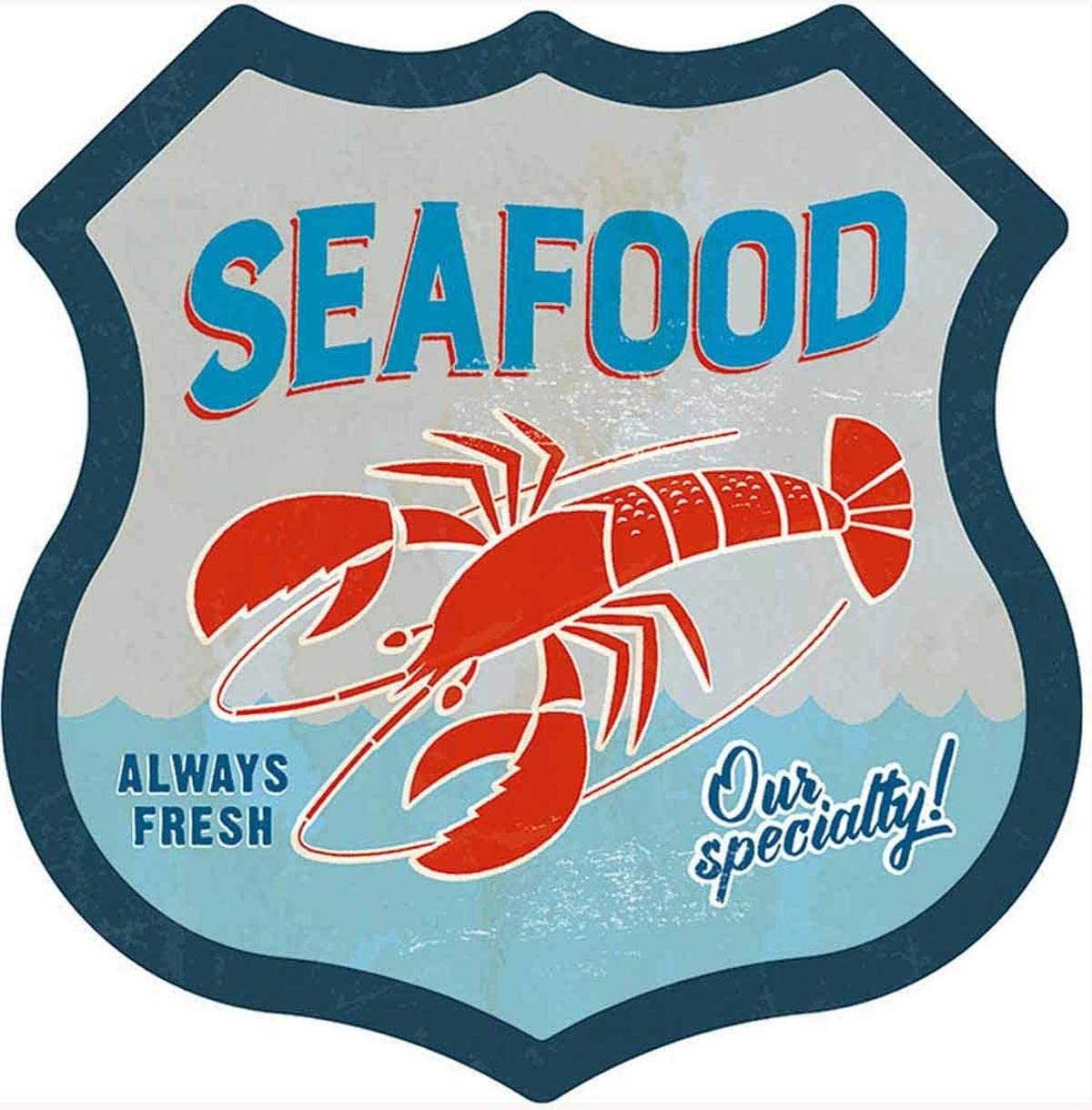 """SUDAGEN Seafood Metal Tin Signs Lobster Gourmet Signs Fish Shop Signs for Wall Decor 12"""" x 12""""(Seafood)"""