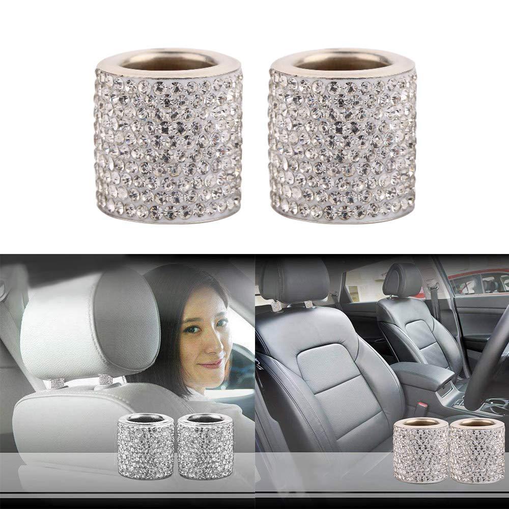 Winbang 2 pcs Cristal de si/ège de voiture appui-t/ête Collier D/écor Charms Strass Int/érieur de voiture Accessoires pour femme Strass universel