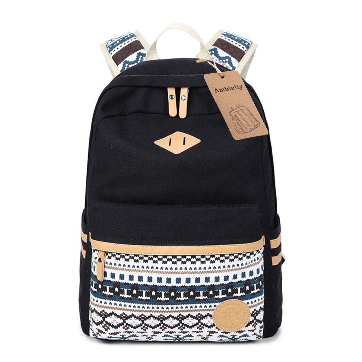 Ambielly Estilo mochilas escolares espesado bolsa de mano hombro del ordenador portátil