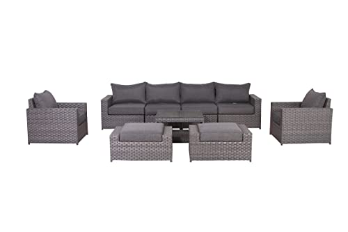 SunHaven Resin Wicker Outdoor Patio Furniture Set – 9 Piece Conversation Sectional Premium All Weather Gray Rattan Wicker, Aluminum Frame with Deluxe Fade Resistant Olefin Cushions 9 Piece Cromwell